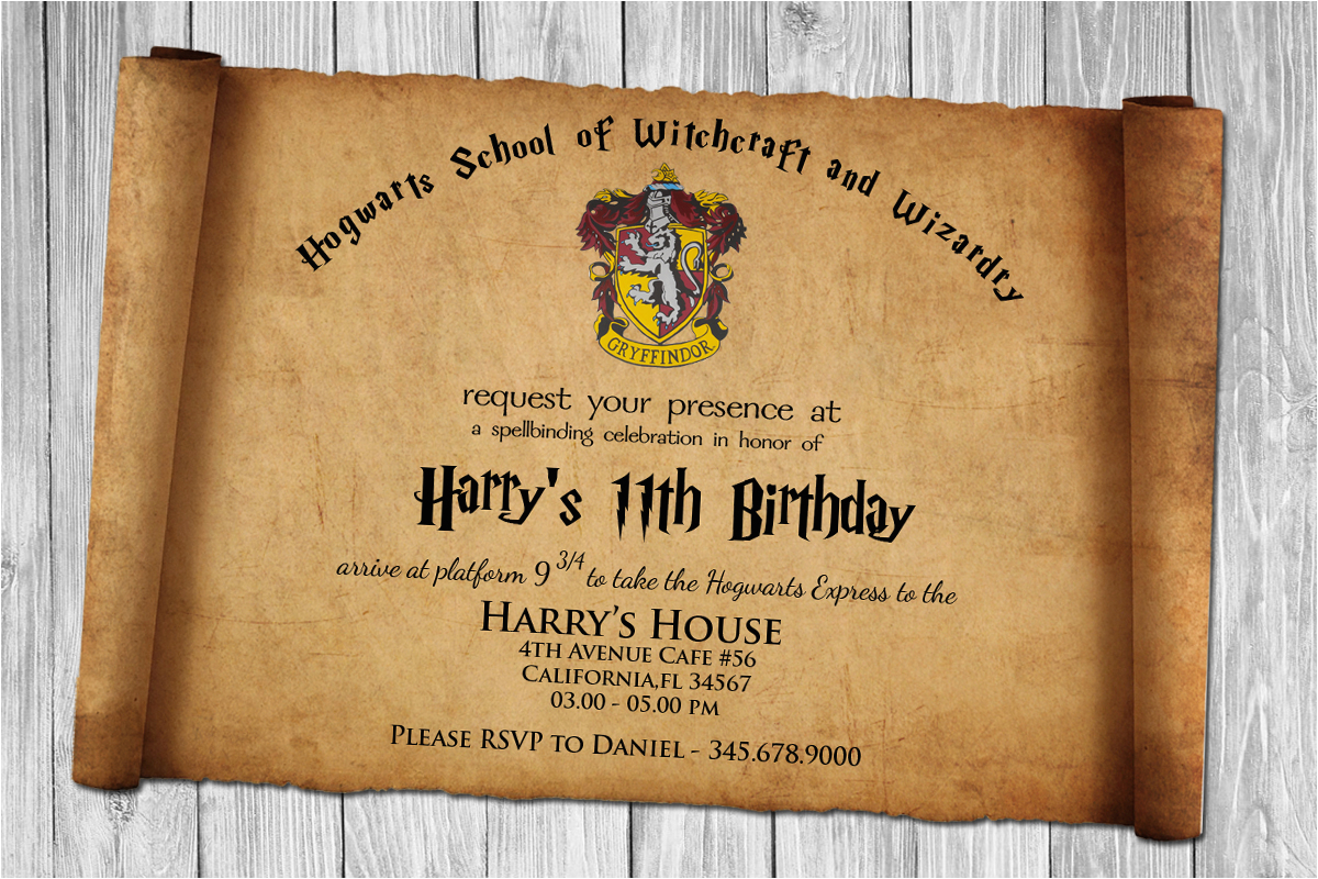 Harry Potter Papyrus Style Birthday Invitation Psd Template
