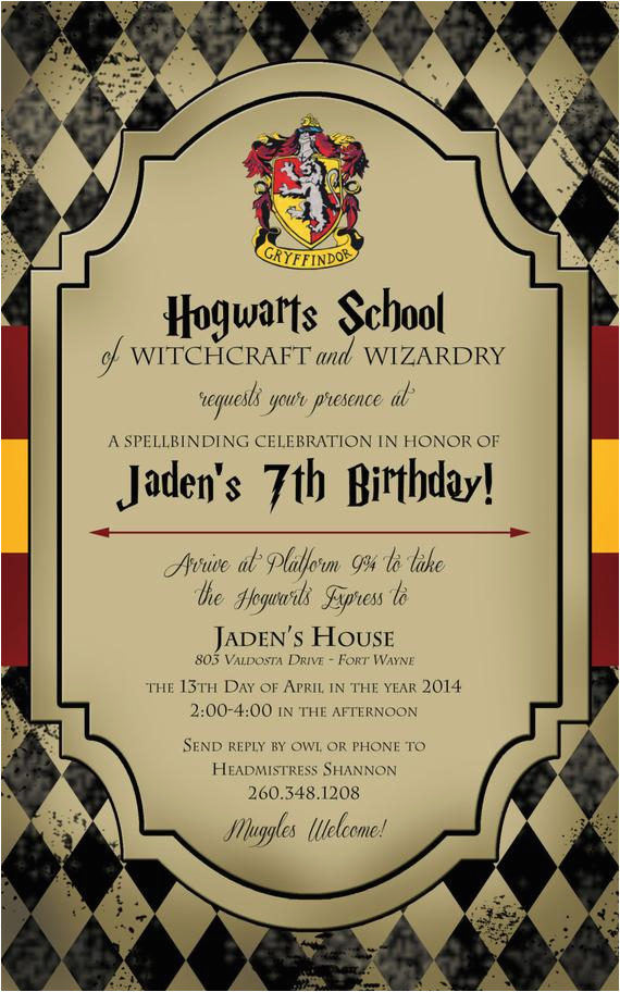 Harry Potter Birthday Invitation Cards By Lifeonpurpose On Etsy