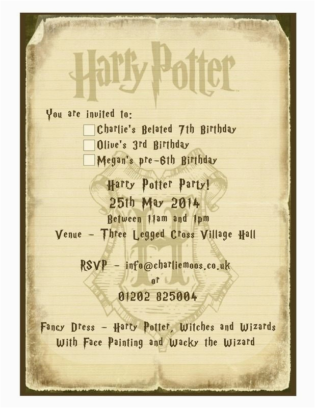 Harry Potter Birthday Invitation Cards Party Invitations Craftbnb