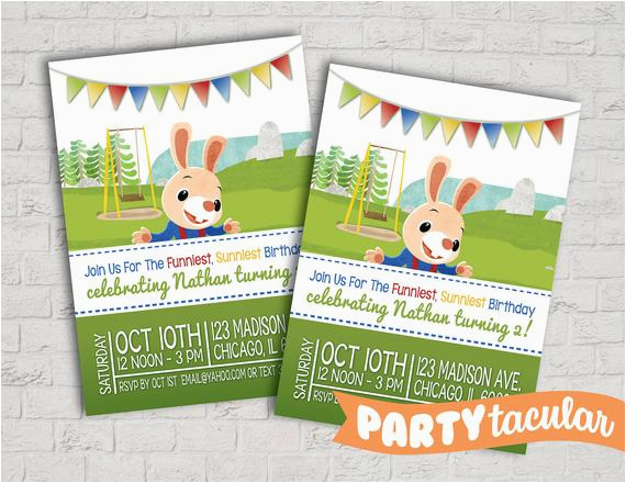 Harry the Bunny Birthday Invitations Harry the Bunny Baby First Tv Birthday Invitation