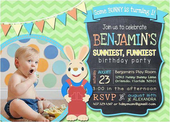 Harry the Bunny Birthday Invitations Harry the Bunny Baby First Tv Inspired Birthday Por