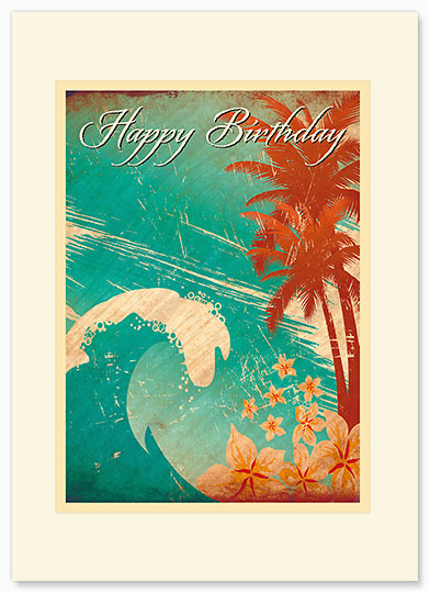 hawaiian birthday wave hawaiian premium vintage birthday greeting card vch1067