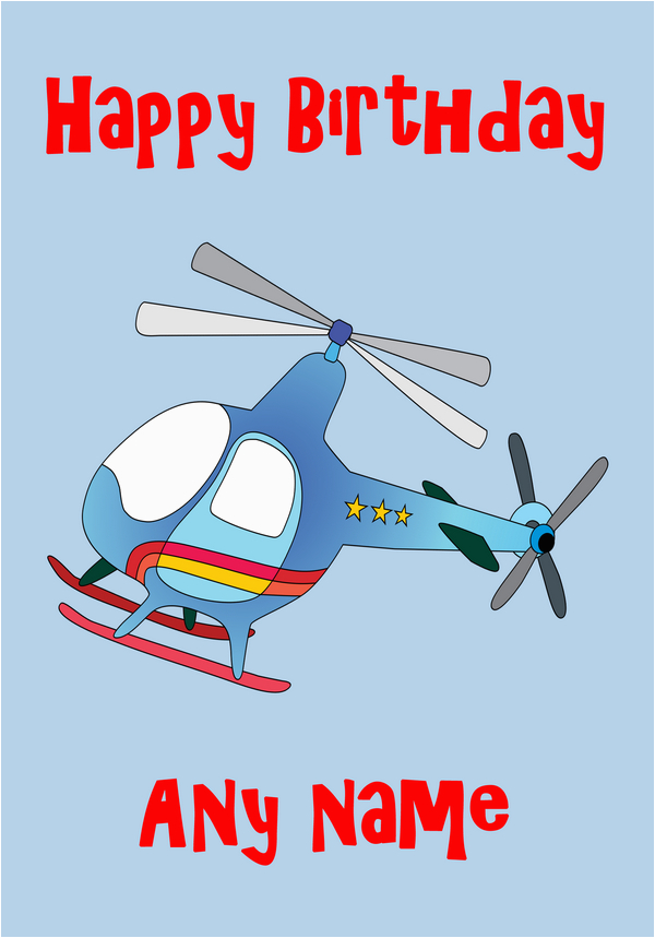 Helicopter Birthday Card Blue Helicopter Birthday Card