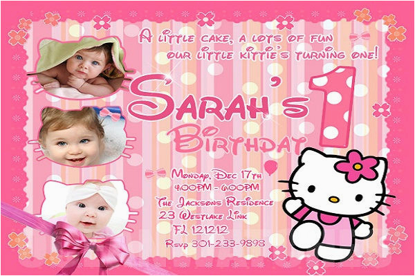 Hello Kitty 1st Birthday Invitations Sample Invitation Templates Free Premium
