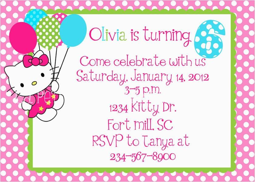 Hello Kitty Birthday Invitations Free Download Invitation Template