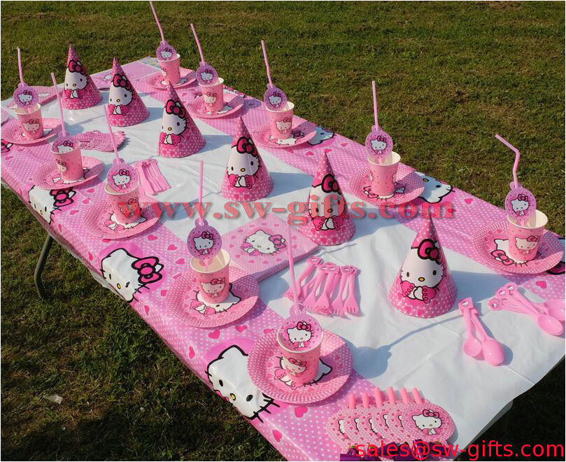 sale 10082716 hello kitty cat theme kids birthday party decoration set party supplies baby birthday pack event par