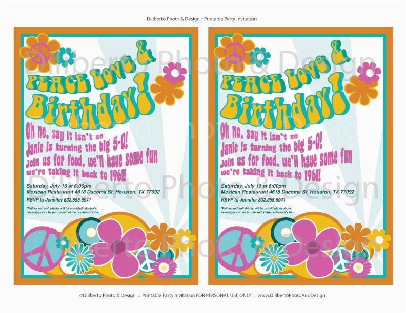 printable party invitation hippie 1960s