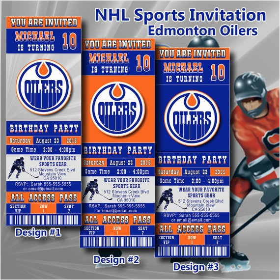 edmonton oilers birthday invitation