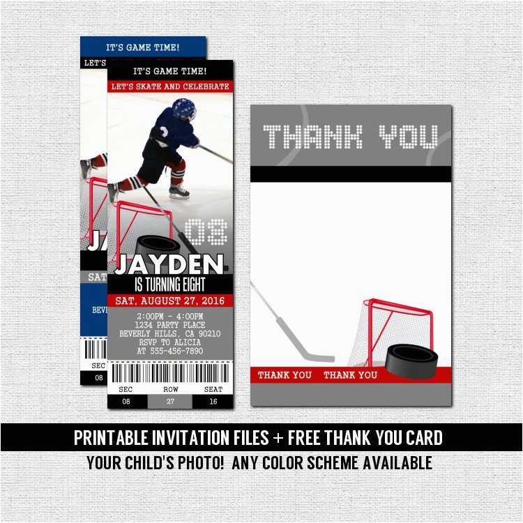 hockey ticket invitations skate birthday