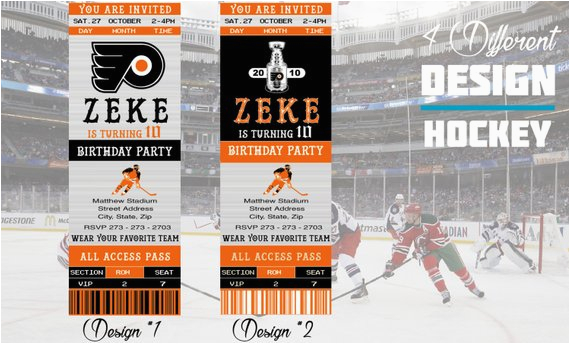 philadelphia flyers birthday invitation