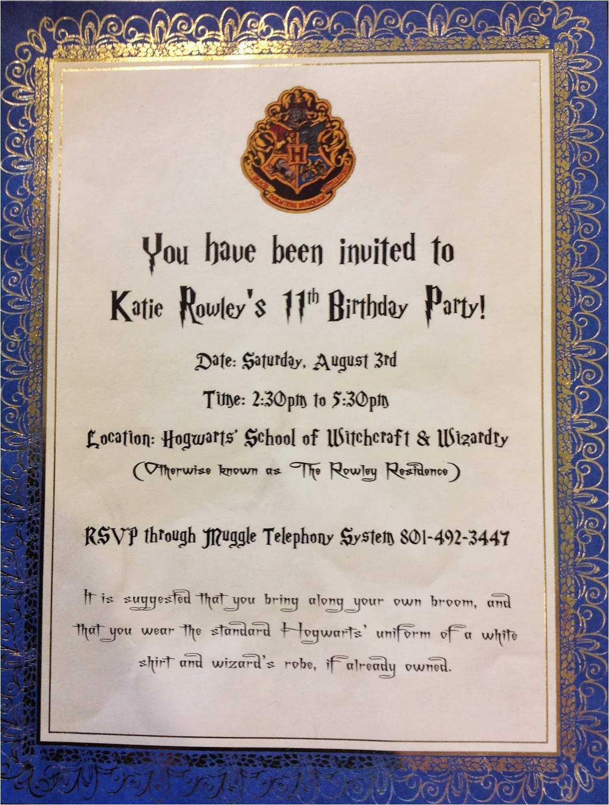 Hogwarts Birthday Invitation Template Harry Potter Birthday Invitations Cimvitation