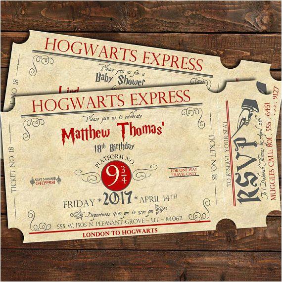 Hogwarts Birthday Invitation Template Harry Potter Train Ticket