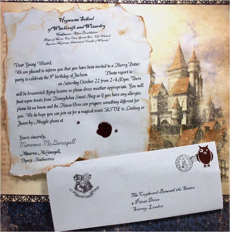 Hogwarts Birthday Invitation Template October 2011 thefrugalcrafter 39 S Weblog