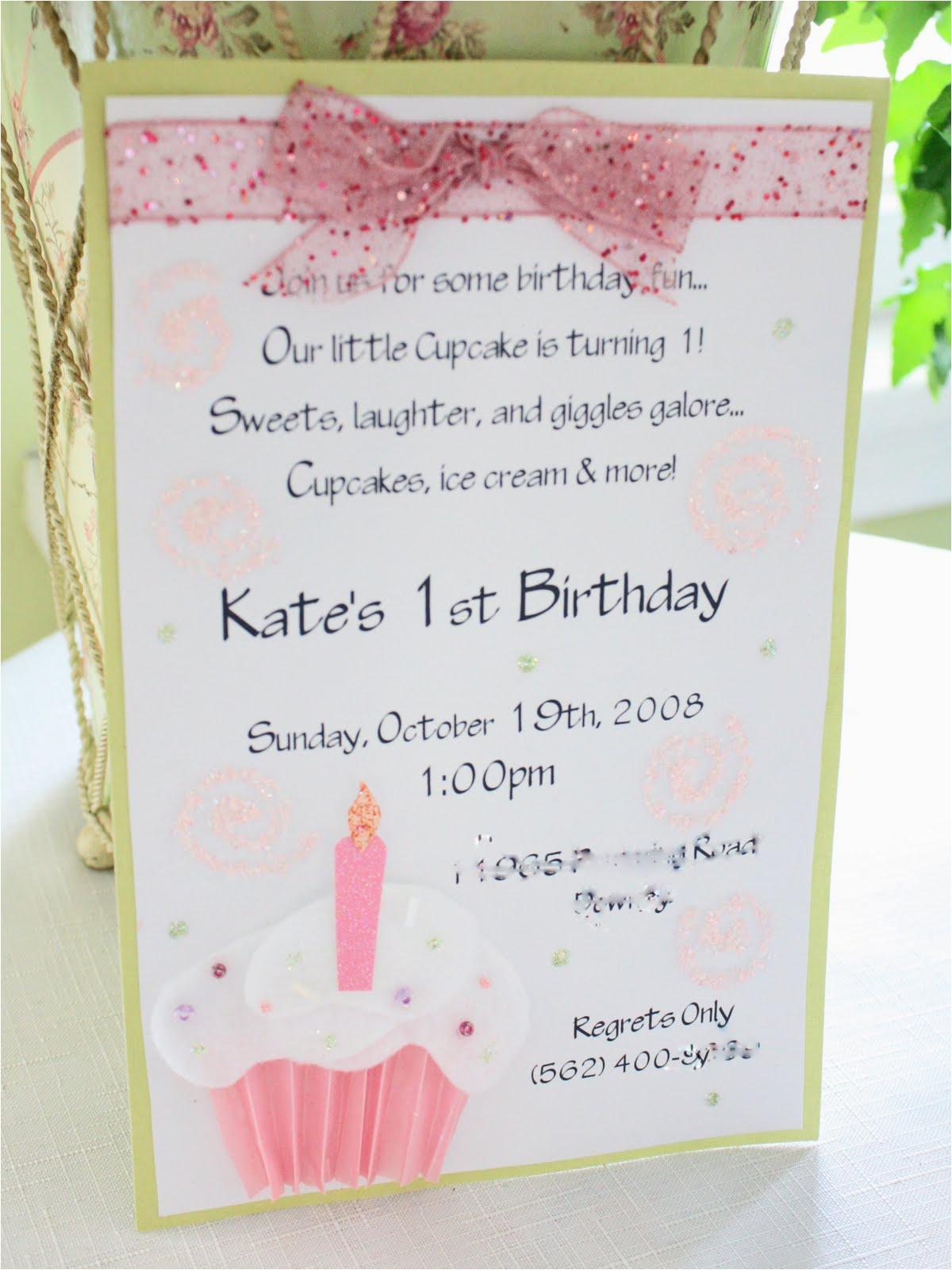 Homemade 1st Birthday Invitations Homemade Baby 39 S 1st Birthday Invitations