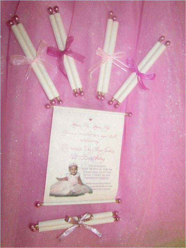 Homemade 1st Birthday Invitations Princess Pinterest