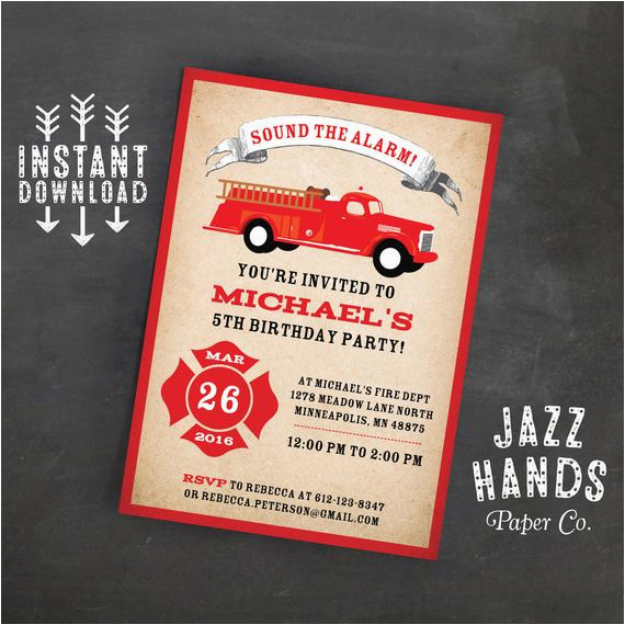 Homemade Birthday Invitations Templates Fire Truck Invitation Template Diy Printable