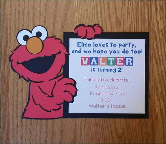 elmo birthday invitation homemade diecut