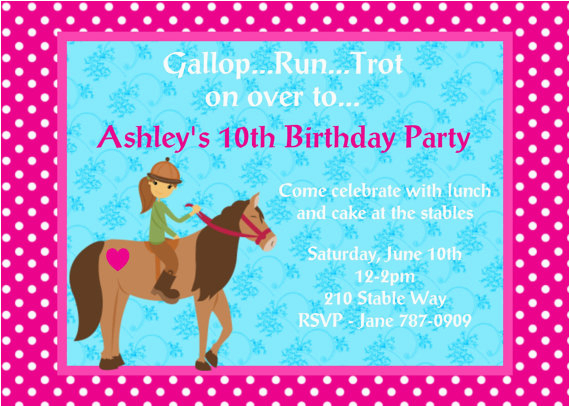 Horse Birthday Cards Free Printable 4 Fancy Party Invitations