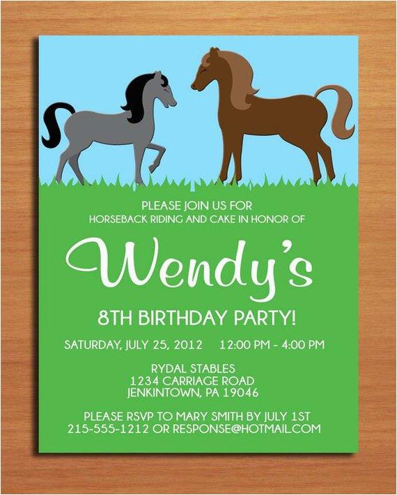 horse pony birthday party invitation