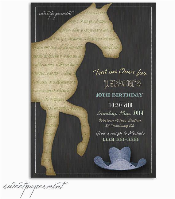 Horse Birthday Cards Free Printable Vintage Child 39 S Boy Invitation Card