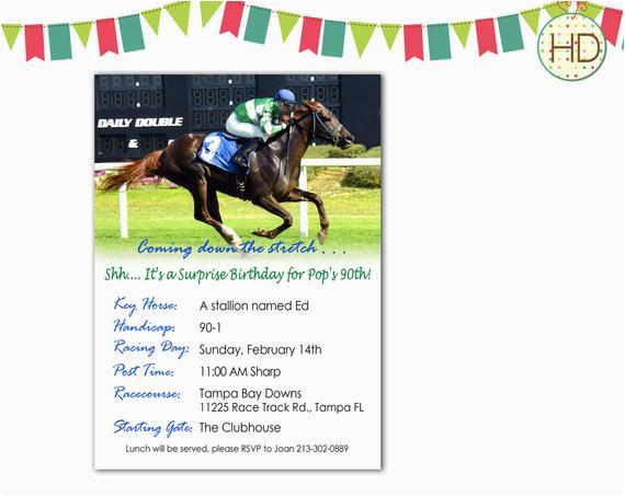 horse racing birthday invitation racing