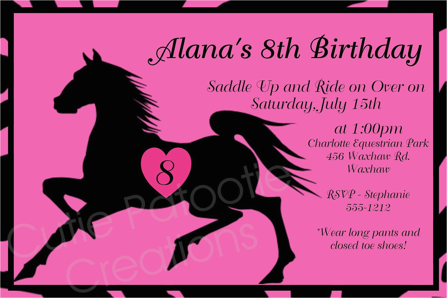 Horse Themed Birthday Invitations Free Printable