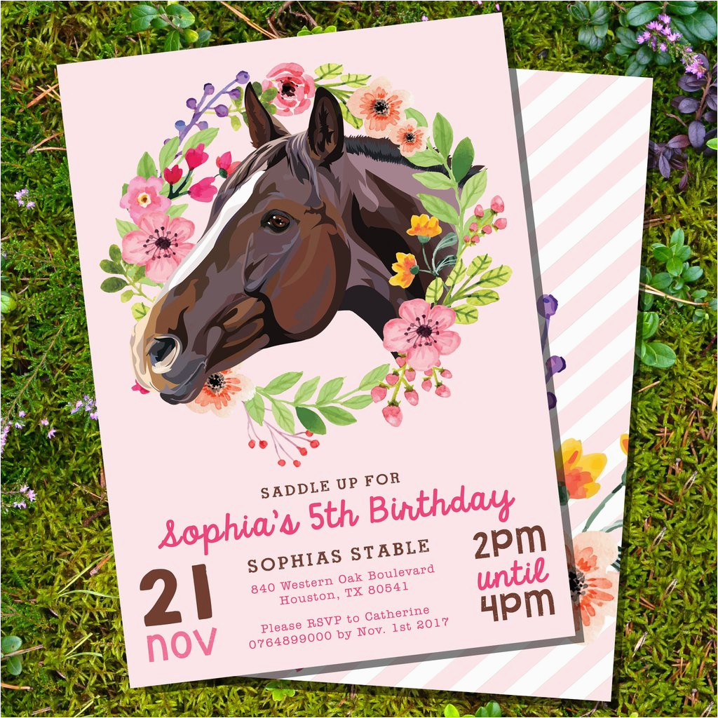Horse Themed Birthday Invitations Horse Birthday Party Invitation
