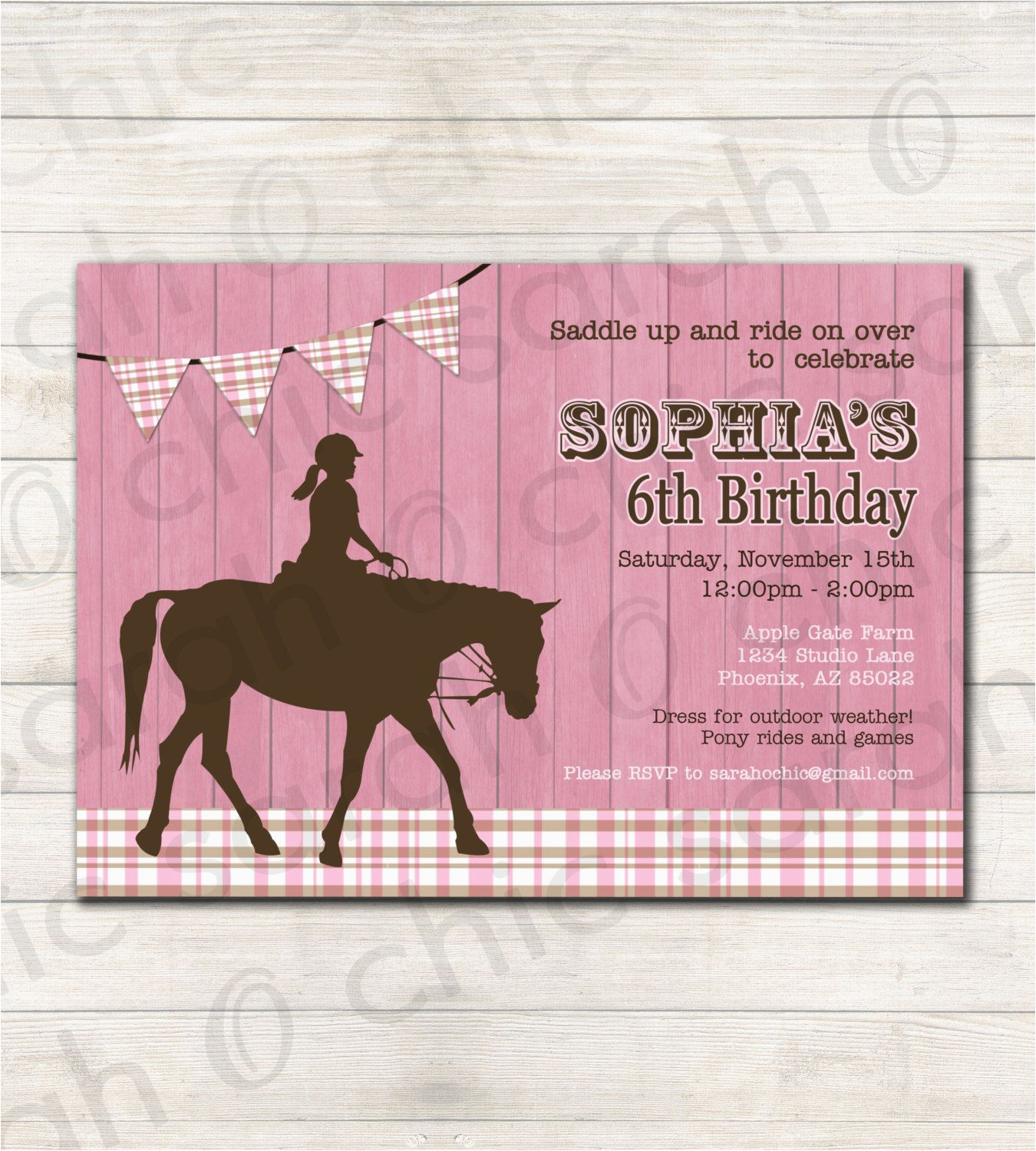 Horse Themed Birthday Party Invitations Free Printable
