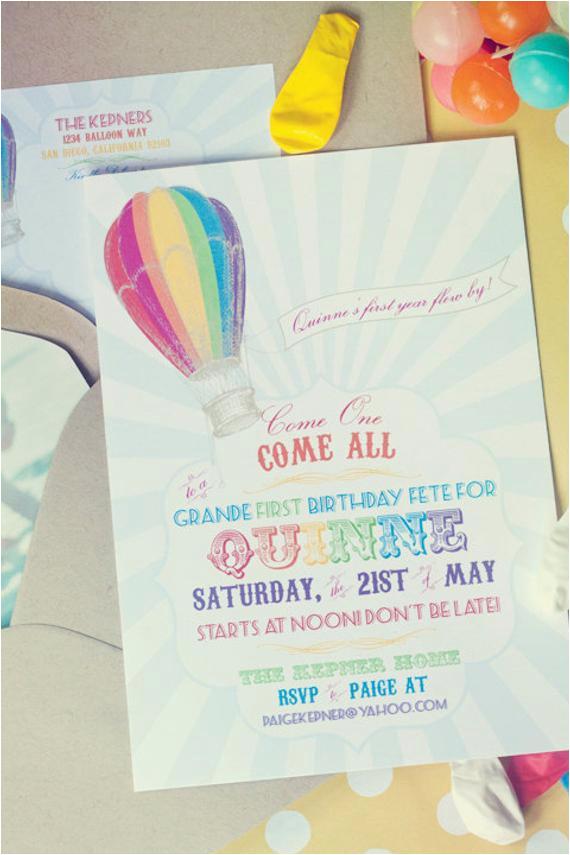 rainbow hot air balloon birthday