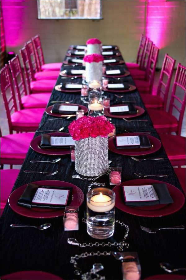 Hot Pink And Black Birthday Decorations Hot Pink Black White And