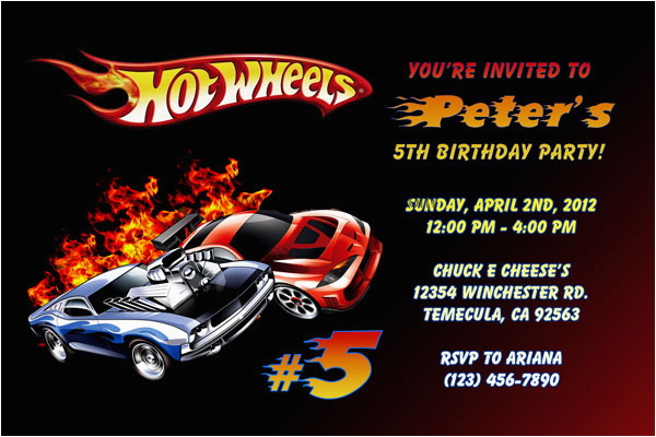 Hot Wheel Birthday Invitations Hot Wheels Invitations General Prints