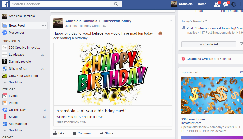 send free awesome birthday cards to your friends on facebook