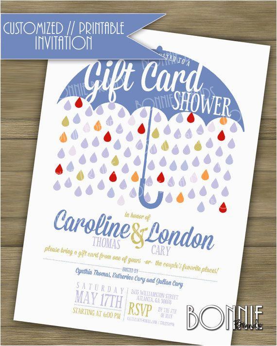 rectangular nice gift card shower invitation white background umbrella blue color rain for baby printable