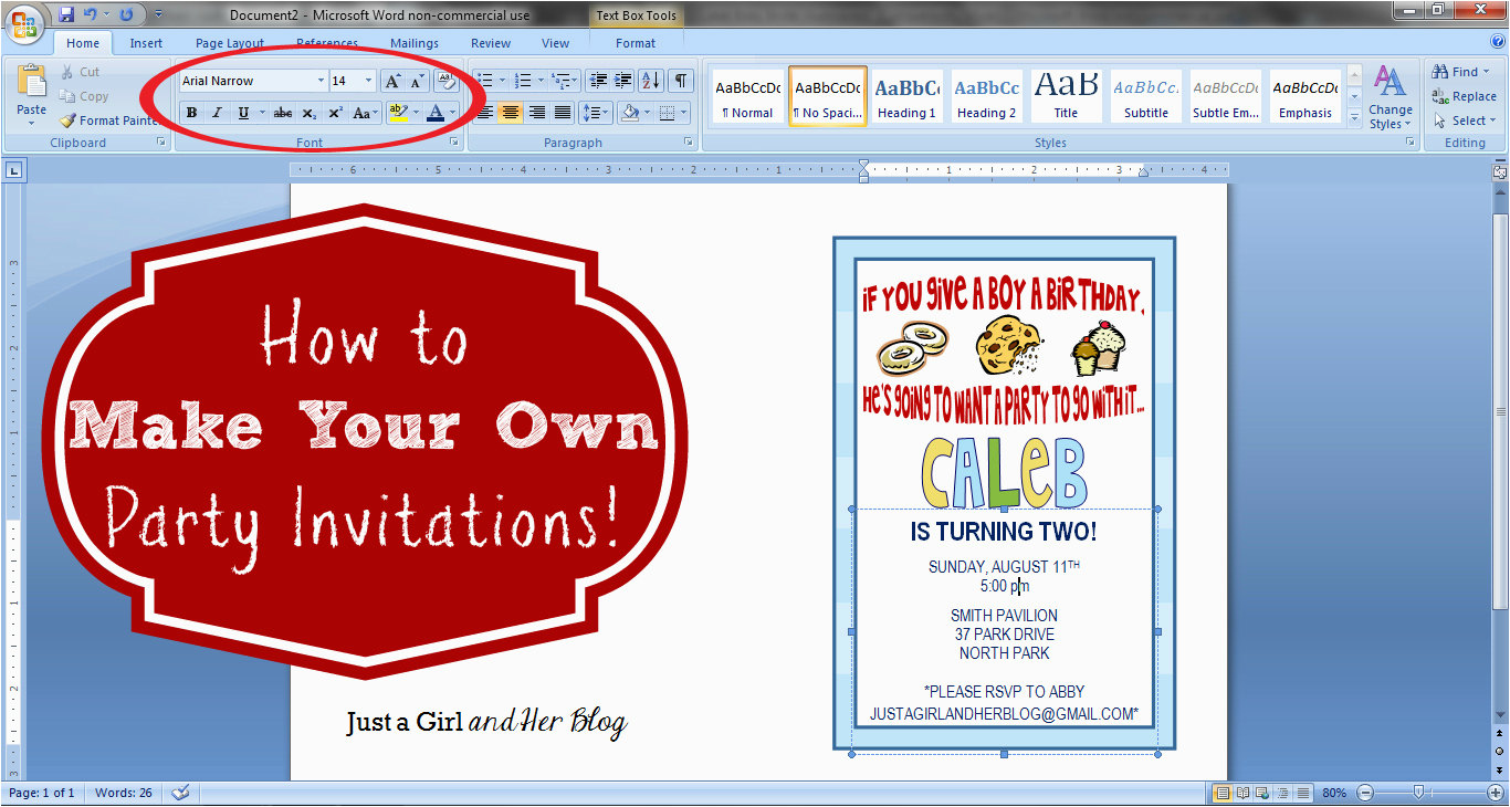 how to make your own party invitations just a girl and