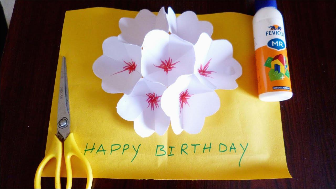3d flower pop up greeting card making paper art youtube