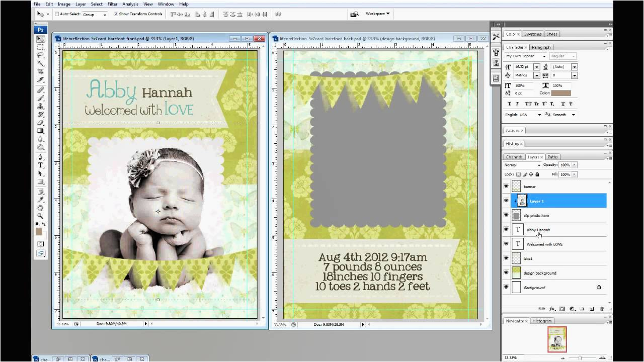 How To Make A Birthday Invitation In Photoshop Create 5x7 Photo Cards