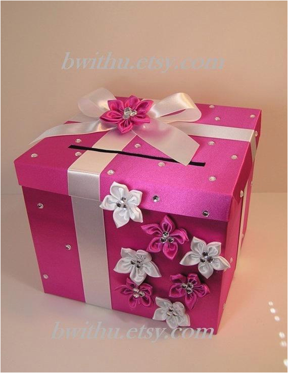 hot pink and white wedding card box gift