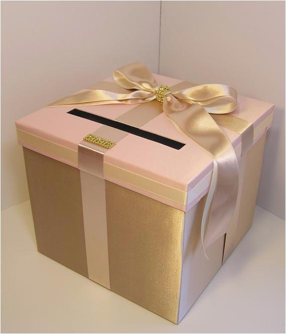 wedding card box champagneblush pink and