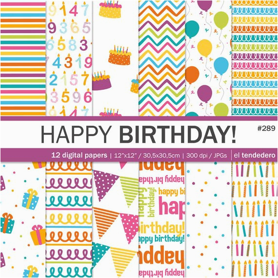 birthday digital paper pack quot happy birthday quot with