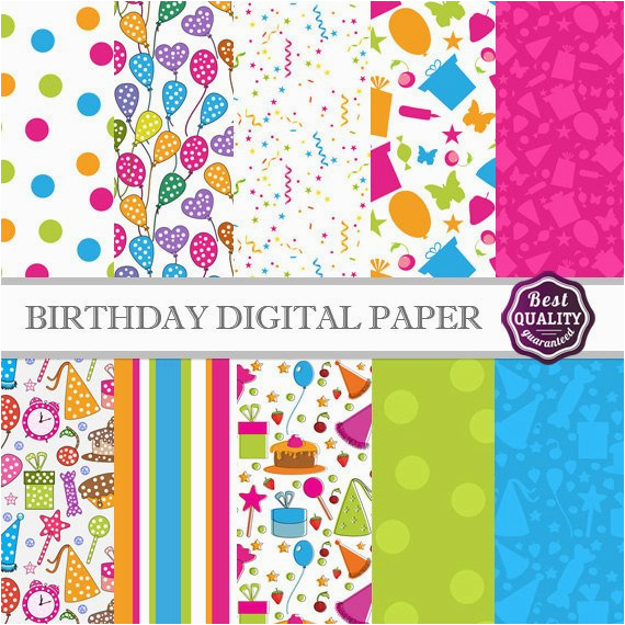birthday digital paper pack w birthday patterns to use