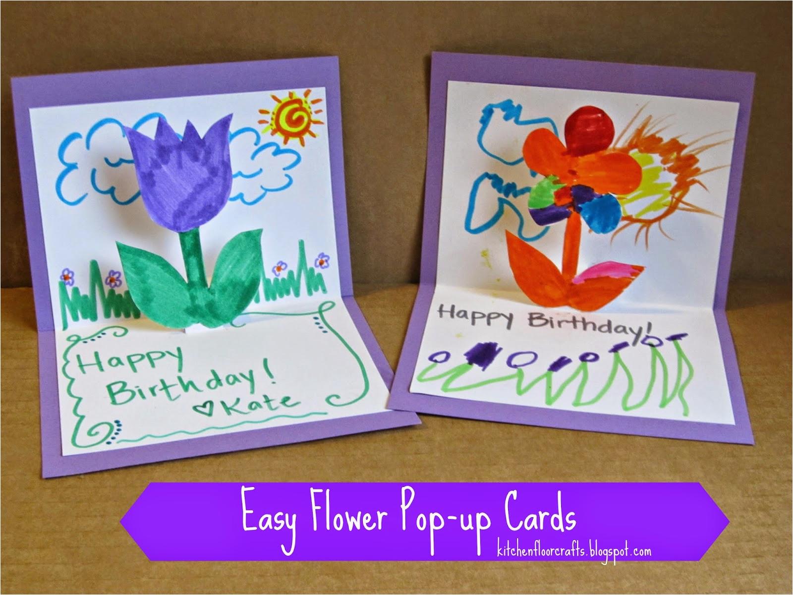 kitchen floor crafts easy flower pop up cards