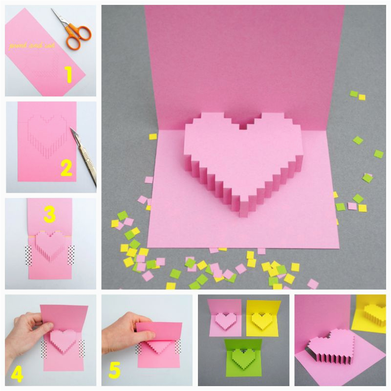 How to Make Pop Up Birthday Cards Step by Step How to Make A Pixel Heart Pop Up Card Step by Step
