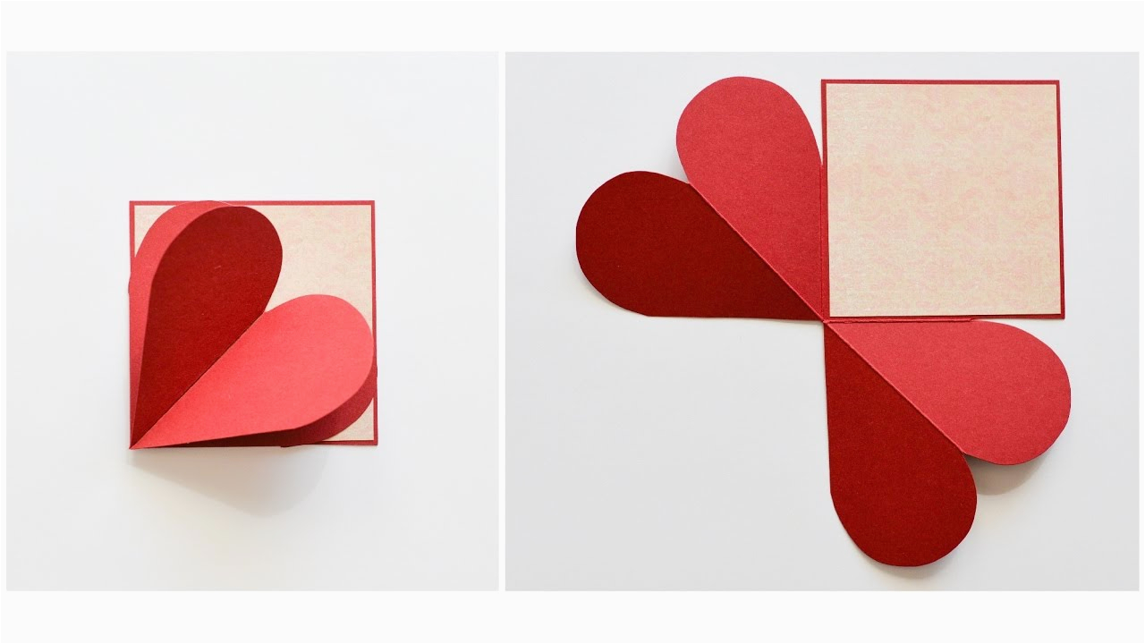 how to make pop up greeting card heart love step by