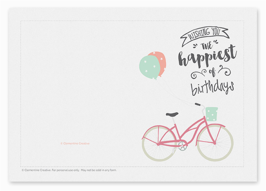 printable birthday card bicycle with balloons