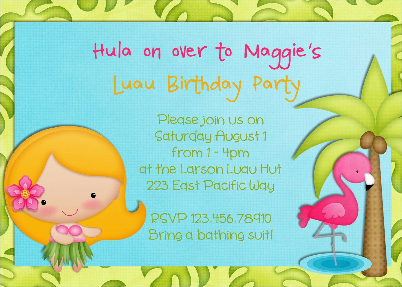 Hula Birthday Party Invitations Hula Girl Birthday Party Invitation Luau Tropical Hawaiian