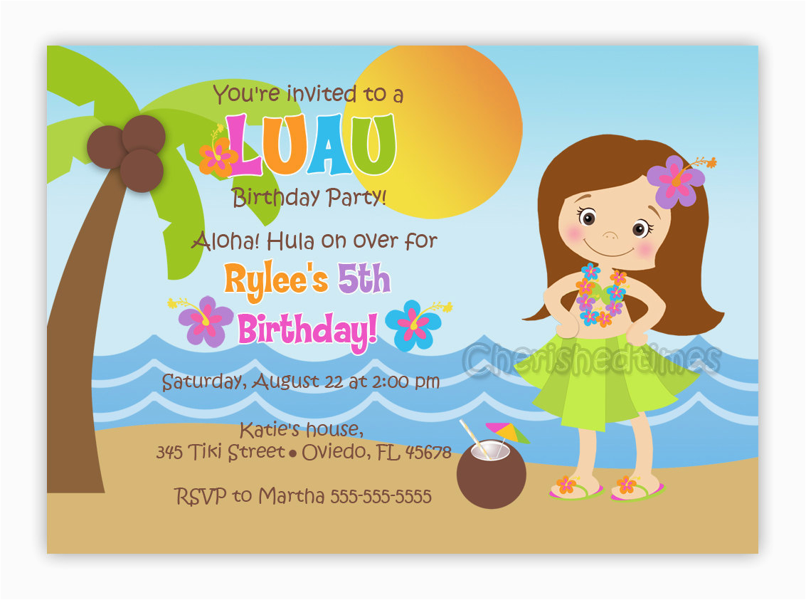 Hula Birthday Party Invitations Girl Or Boy Invitation You Print