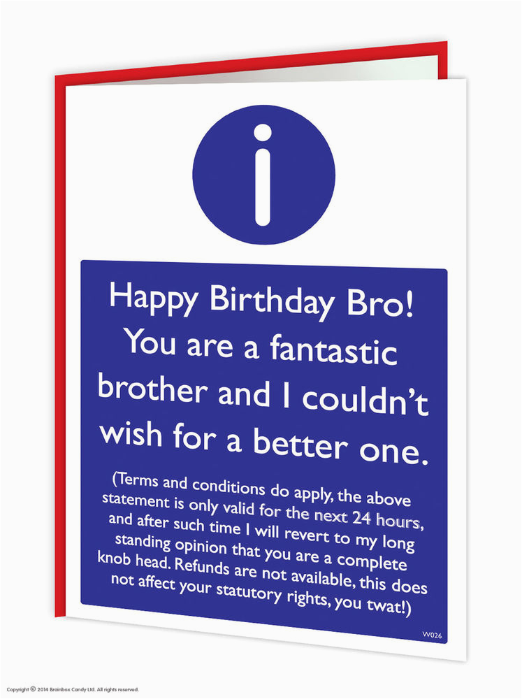 Humorous Birthday Cards for Brother Brainbox Candy Brother Bro Birthday Greeting Cards Funny