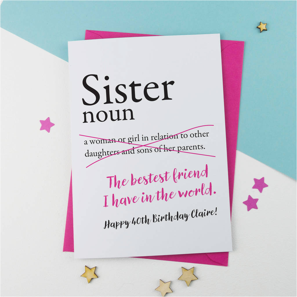 Humorous Birthday Cards For Sister Card Personalised