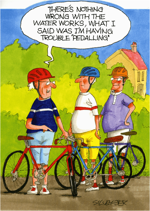 funny greeting card trouble pedalling wrinklies