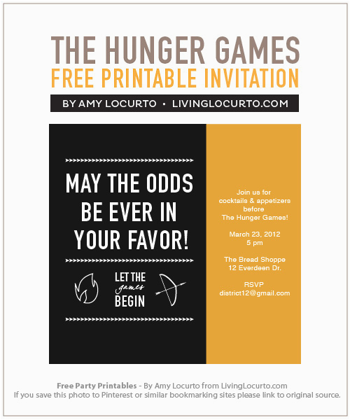 hunger games party printables